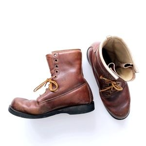 Vintage Men's Combat Aged Leather Brown Boots 8